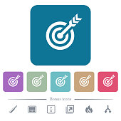 Target table with arrow white flat icons on color rounded square backgrounds. 6 bonus icons included
