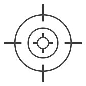 Target thin line icon. Aim focus goal, crosshair symbol, outline style pictogram on white background. Military or warfare sign for mobile concept and web design. Vector graphics