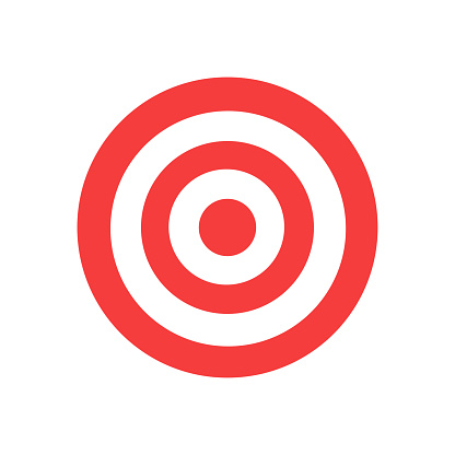 Red and white circles target darts icon. Archery aim vector symbol