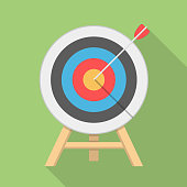 Target with arrow, flat style, long shadow, vector eps10 illustration