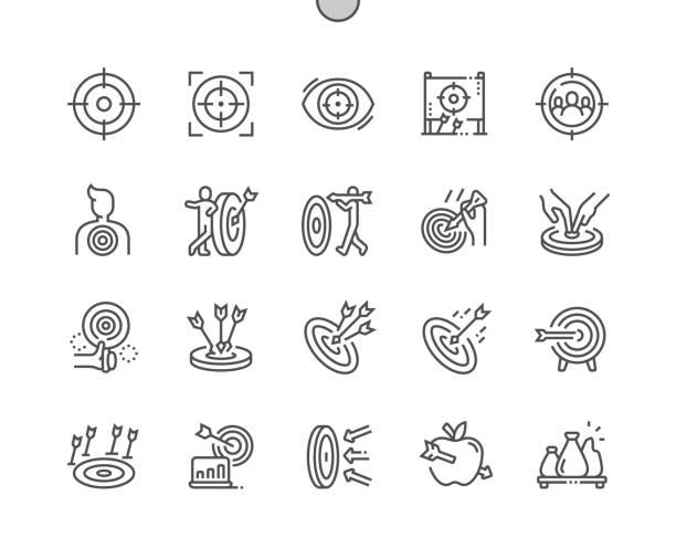 stockillustraties, clipart, cartoons en iconen met target goed vervaardigde pixel perfect vector dunne lijn pictogrammen 30 2x grid voor webafbeeldingen en apps. eenvoudige minimale pictogram - mislukking
