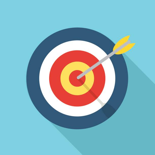 Ziel mit einem Pfeil flache Konzept Markt Ziel Vektor Bild Symbolbild – Vektorgrafik