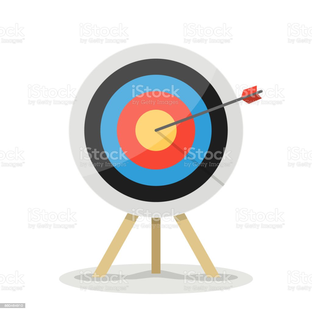 Target with arrow. Business success concept. Vector flat target isolated icon vector art illustration