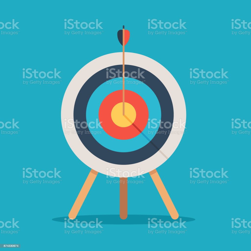 Target with arrow in center vector art illustration