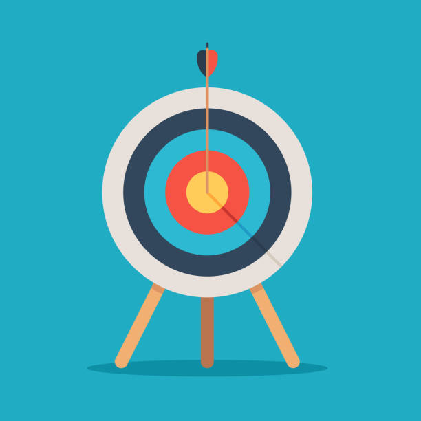 Target with arrow in center Target with arrow in the center, standing on a tripod. Goal achieve concept. Vector illustration isolated on blue background aiming stock illustrations