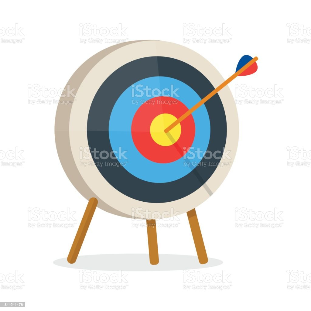 Target with arrow, standing on a tripod. vector art illustration