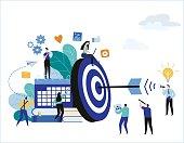 Target with arrow vector illustration banner. goal achievement. business teamwork marketing concept. flat cartoon character design for web mobile