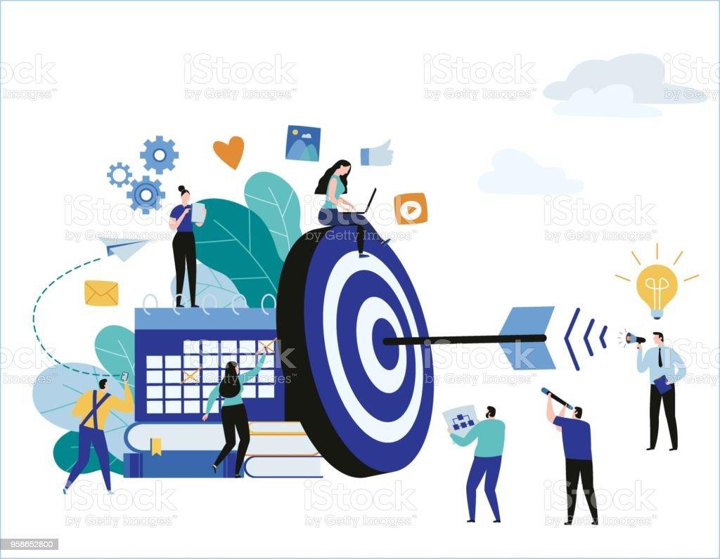 Target with arrow vector illustration banner. goal achievement. business teamwork marketing concept. flat cartoon character design for web mobile vector art illustration