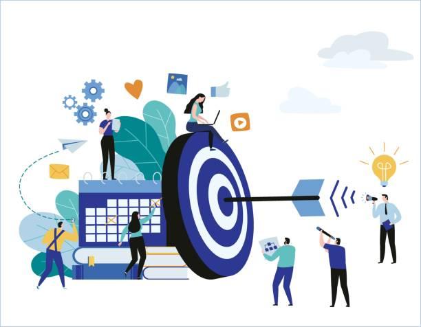 Blanco con la bandera de ilustración de vector de flecha. logro de metas. concepto marketing de negocio trabajo en equipo. diseño de personajes de historieta plana para web móvil - ilustración de arte vectorial