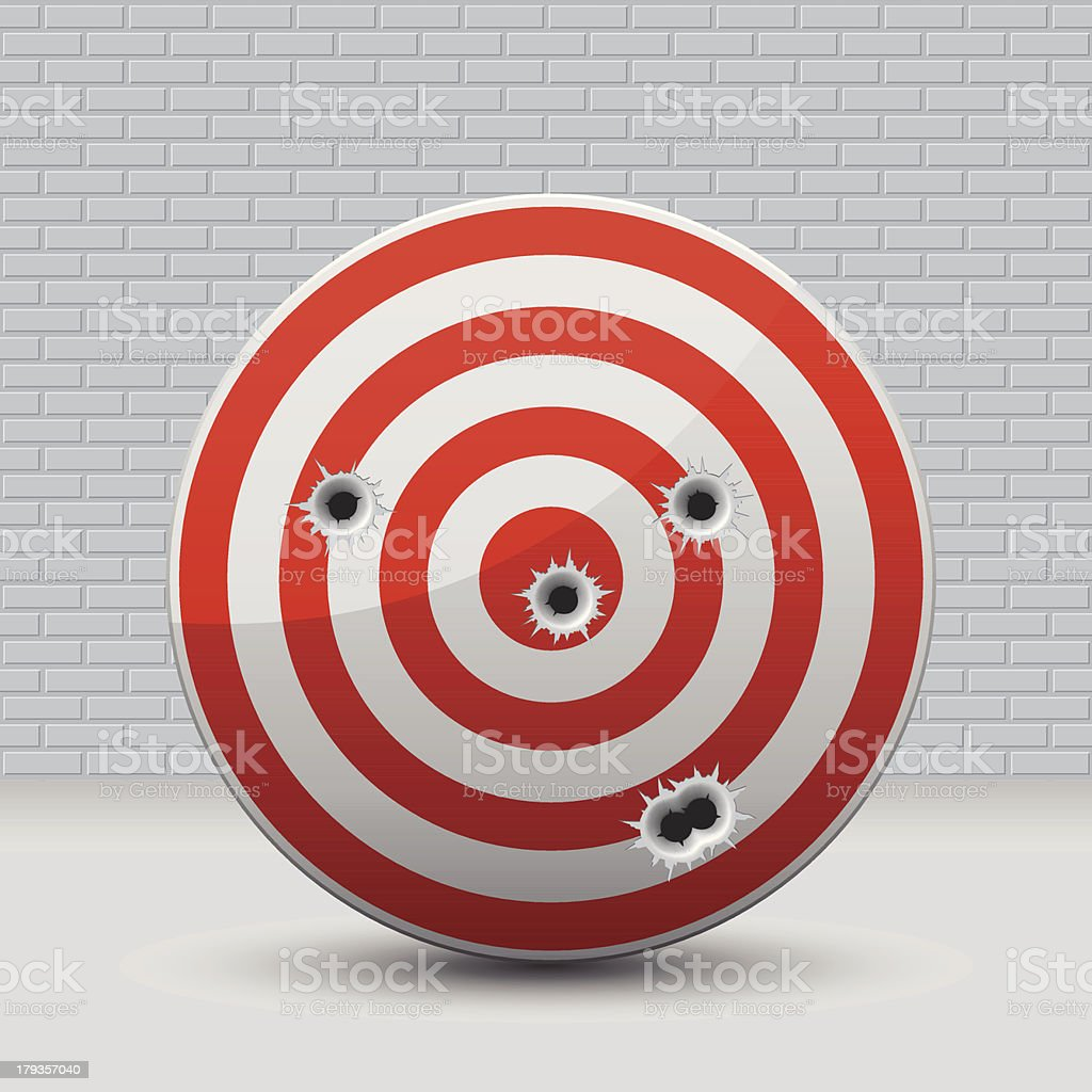 Target with Bullet Holes royalty-free stock vector art