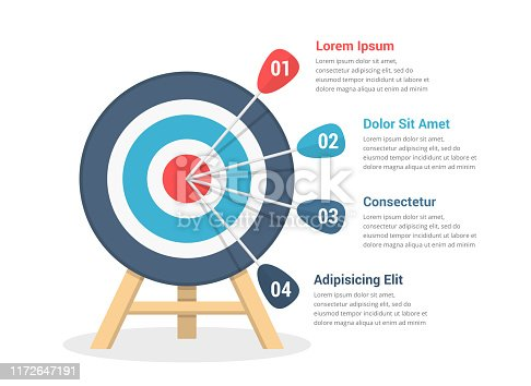 Target with four arrows, three steps to your goal, infographic template for web, business, presentations, vector eps10 illustration