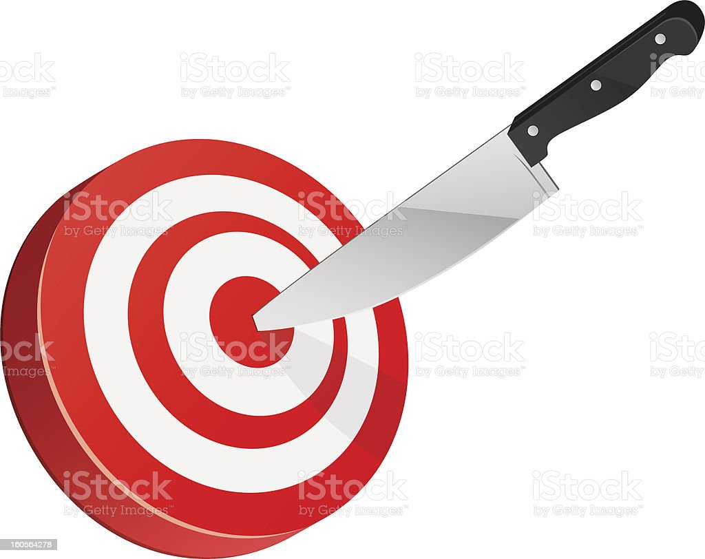 Target with knife Target with knife. Vector illustration. Bull's-Eye stock vector