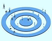 Illustration of a target shape is shown with people in isometric view, using a blue color palette.