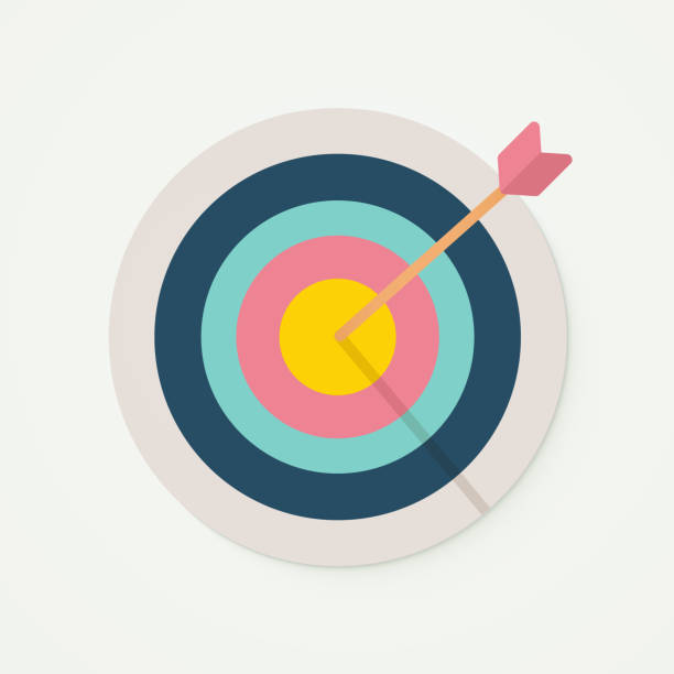 Target with perfect aim arrow. Vector illustration for target market , audience and consumer, success, perfection. Bullseye, goal, score sign. vector eps10 focus stock illustrations