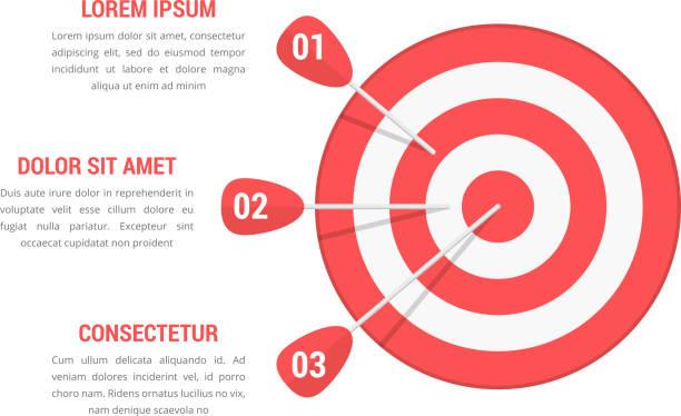 Target with Three Arrows Target with three arrows, three steps or options infographics, vector eps10 illustration bull's eye stock illustrations