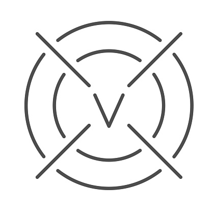 Target with victory symbol thin line icon, business strategy concept, achieved business goal sign on white background, Successful goal achievement icon in outline style mobile. Vector graphics.