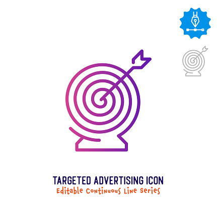 Targeted Advertising Continuous Line Editable Icon