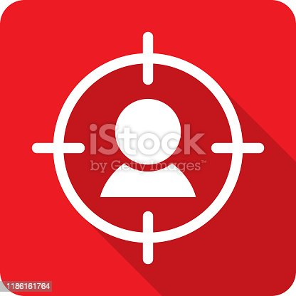Vector illustration of a red targeted person icon in flat style.