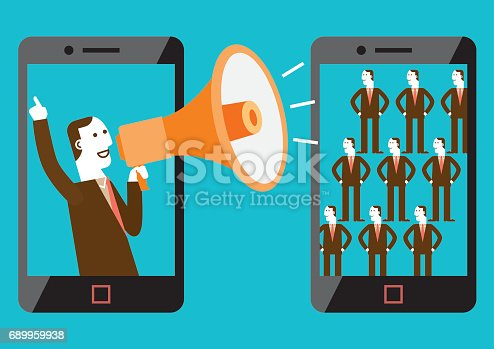 Business concept illustration of mobile marketer making shout-out to the target audience.