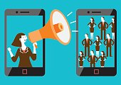 Business concept illustration of a female mobile marketer making shout-out to the targeted mixed-sex audience.