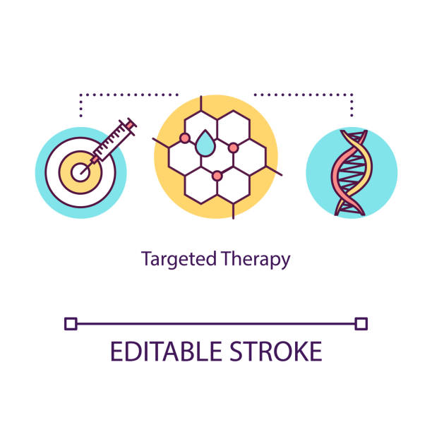 Targeted therapy concept icon. Cancer treatment idea thin line illustration. Immunotherapy. Medical help. Drug oncology treatment. Medications. Vector isolated RGB color drawing. Editable stroke Targeted therapy concept icon. Cancer treatment idea thin line illustration. Immunotherapy. Medical help. Drug oncology treatment. Medications. Vector isolated RGB color drawing. Editable stroke chemotherapy cancer stock illustrations