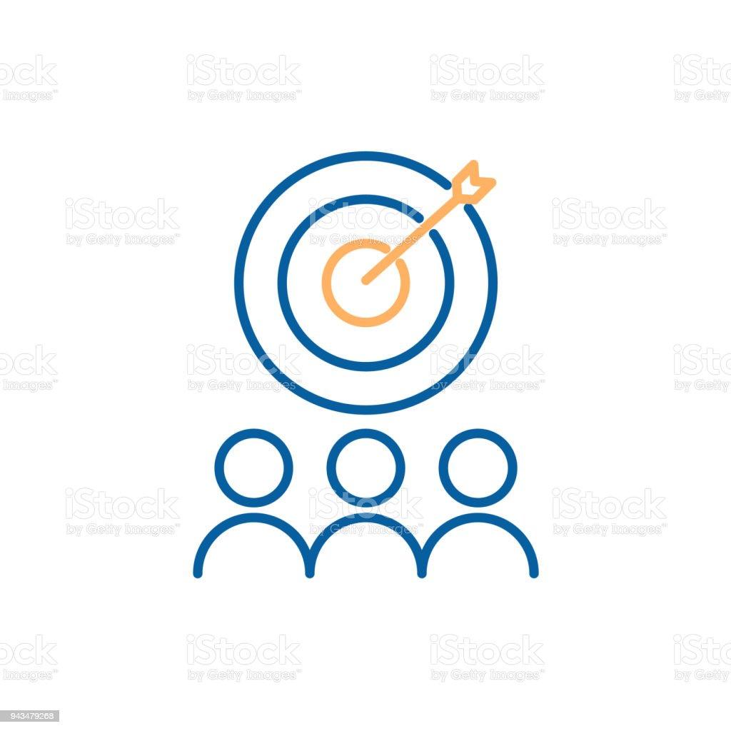 Dirigidas a público de mercado de enfoque. Diseño de icono de vector línea fina. Crowdsourcing, crowdfunding. Relaciones con el cliente - ilustración de arte vectorial