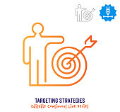 Targeting strategies vector icon illustration for logo, emblem or symbol use. Part of continuous one line minimalistic drawing series. Design elements with editable gradient stroke line.