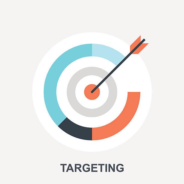 Targeting Vector illustration of targeting flat design concept. bull's eye stock illustrations