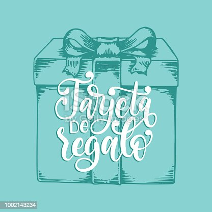 istock Tarjeta De Regalo, vector hand lettering. Translation from Spanish to English of phrase Gift Card. Vector calligraphiy. 1002143234