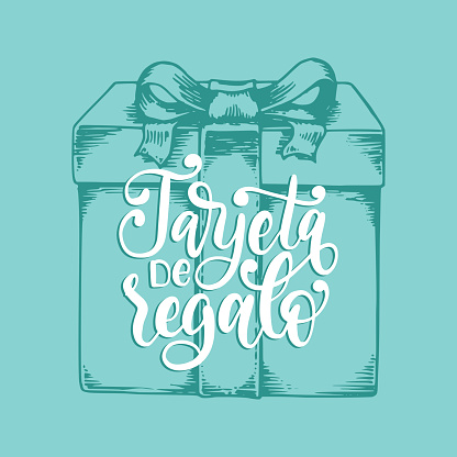 Tarjeta De Regalo, vector hand lettering. Translation from Spanish to English of phrase Gift Card. Vector calligraphiy.