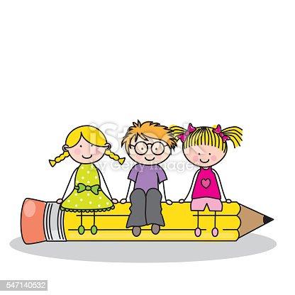 istock Tarjeta niños sentado en un lápiz. 547140532