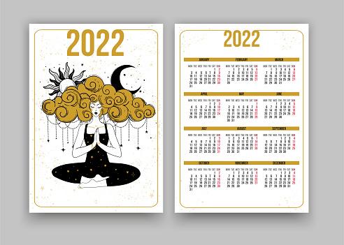Tarot calendar for 2022, yoga girl meditating with sun and moon, esoteric boho design. Week starts on Monday. Vertical two-sided calendar design template.