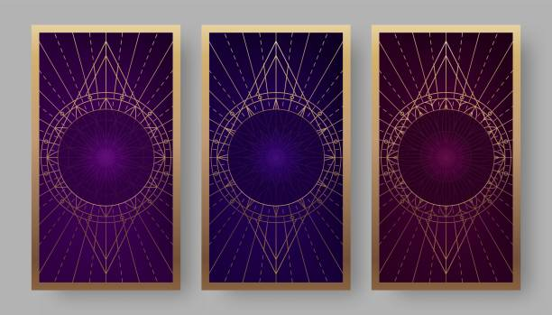 Tarot cards back set with geometric symbols Tarot cards back set with geometric symbols. Vector illustration major military rank stock illustrations