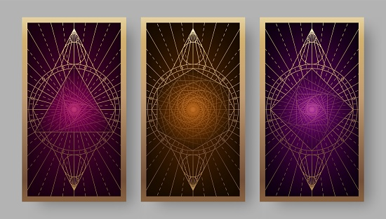 Tarot cards back set with geometric symbols
