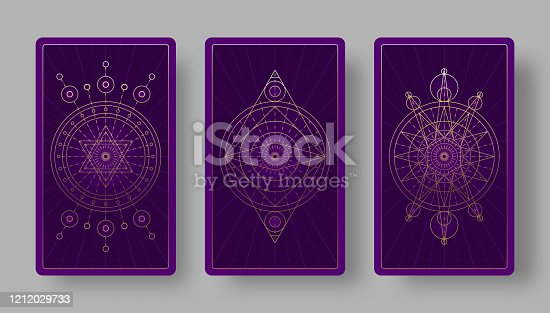 Tarot cards back set with mystical symbols