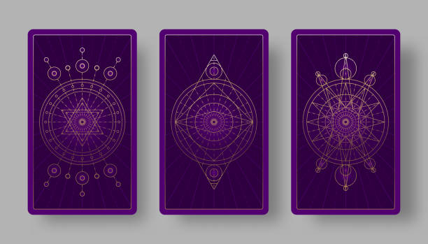 Tarot cards back set with mystical symbols Tarot cards back set with mystical symbols. Vector illustration major military rank stock illustrations
