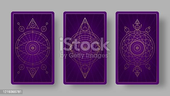 Tarot cards back set with mystical symbols.