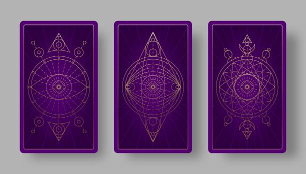 Tarot cards back set with mystical symbols. Tarot cards back set with mystical symbols. Vector illustration major military rank stock illustrations
