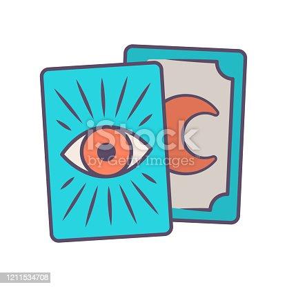 Tarot tarjetas icono de color azul. Tarocchi, tarock, oráculo jugando a las cartas. Adivinación, cartomanía. Magia y superstición. Ocultacultismo, herramienta mágica de brujería. Ilustración vectorial aislada