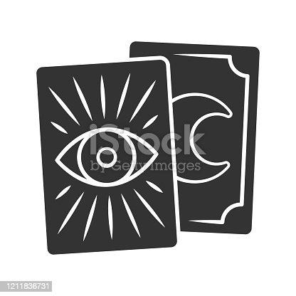 Icono de glifo de las cartas de Tarot. Símbolo de silueta. Tarocchi, tarock, oráculo jugando a las cartas. Adivinación, cartomanía. Magia y superstición. Espacio negativo. Ilustración aislada vectorial