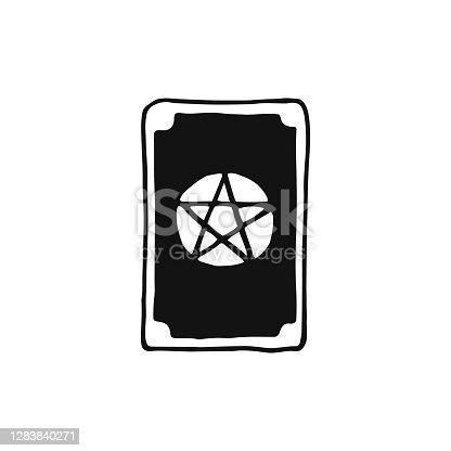 Icono de cartas de Tarot. Adivinación de fortuna, adivinación, cartotomía. Magia, superstición. Oculto, herramienta mágica de brujería. Ilustración vectorial de dibujo a mano aislada