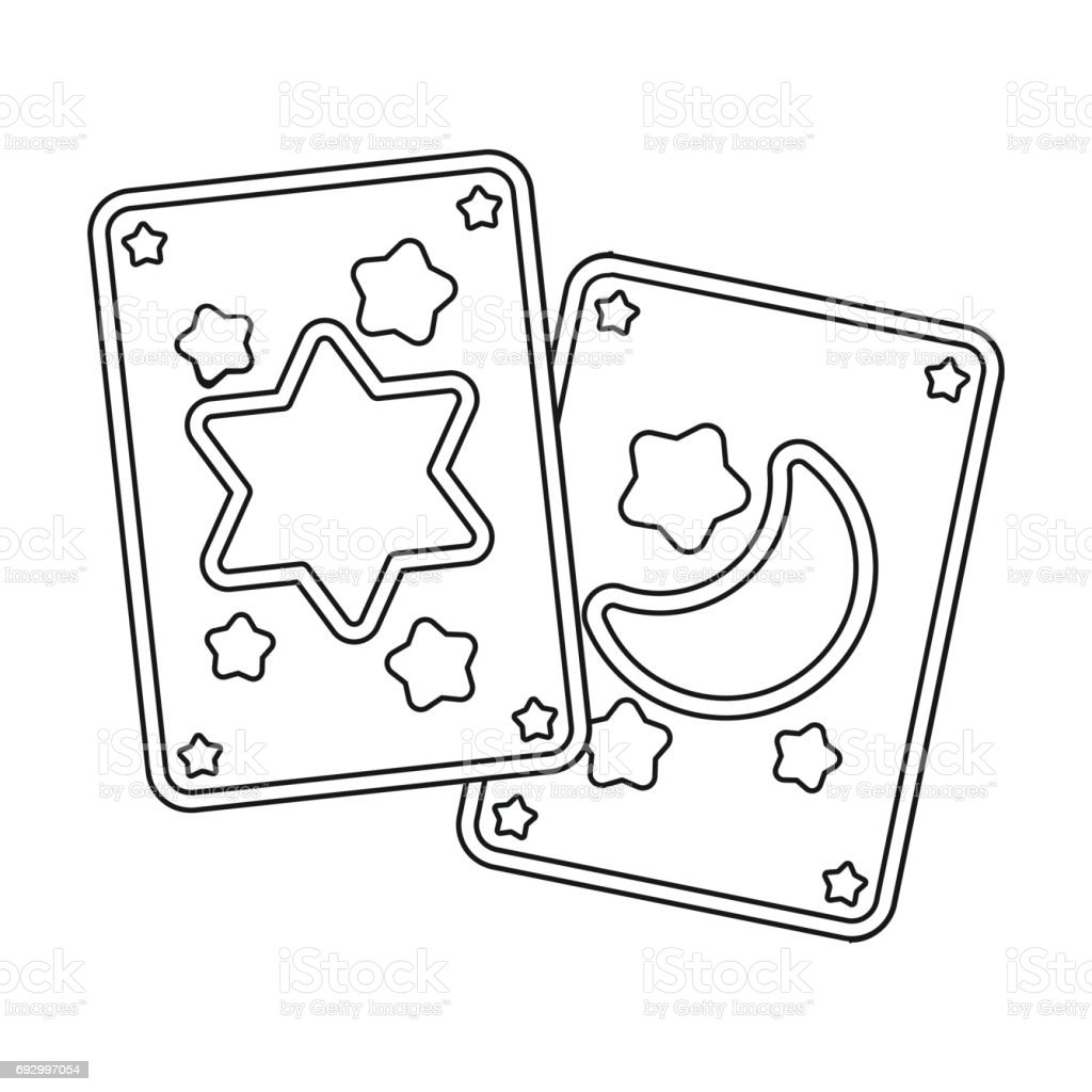 Tarot Cards Icon In Outline Style Isolated On White Background Black