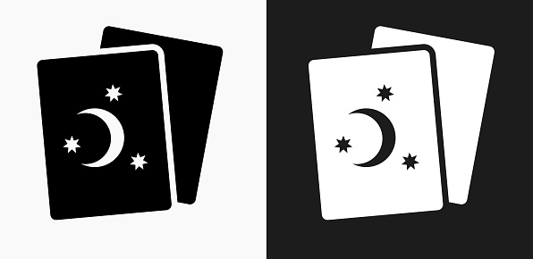 Tarot Cards Icon on Black and White Vector Backgrounds