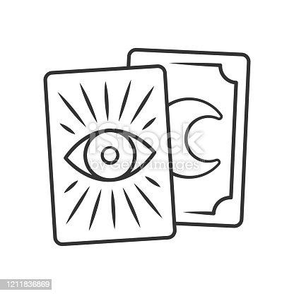 Icono lineal de las cartas de Tarot. Ilustración de línea fina. Tarocchi, tarock, cartas de oráculo. Adivinación, cartomanía. Magia y superstición. Dibujo de contorno aislado vectorial. Trazo editable