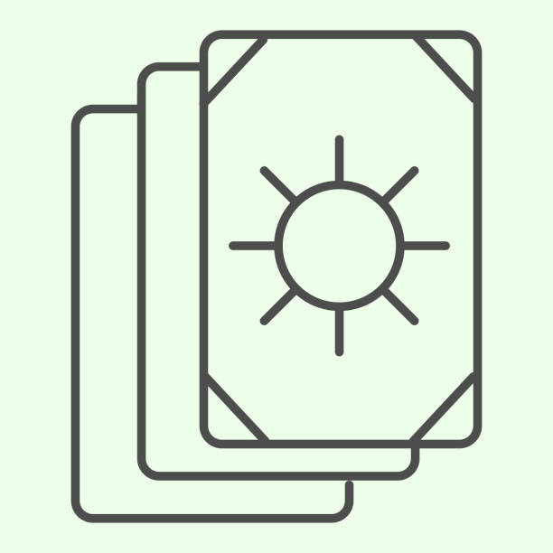 Tarot cards thin line icon. Oracle card stack with sun circle image outline style pictogram on white background. Occult, witchcraft magical tool for mobile concept and web design. Vector graphics. Tarot cards thin line icon. Oracle card stack with sun circle image outline style pictogram on white background. Occult, witchcraft magical tool for mobile concept and web design. Vector graphics voodoo stock illustrations