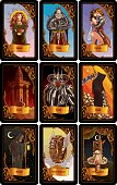 Set of classic tarot cards in black frame, vector EPS10