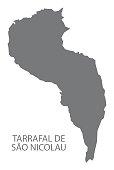 Tarrafal de Sao Nicolau Cape Verde municipality map grey illustration silhouette