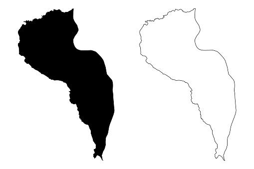 Tarrafal de Sao Nicolau municipality (Republic of Cabo Verde, concelhos, Cape Verde, Sao Nicolau island, archipelago) map vector illustration, scribble sketch Tarrafal de Sao Nicolau map