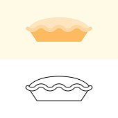 Tart and pie icon in flat design and outline for use as logo