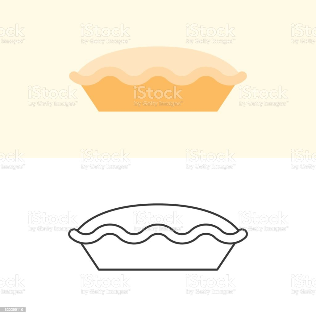 Tart and pie icon in flat design and outline for use as logo vector art illustration